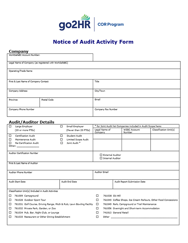 COR Notice of Audit Activity Form