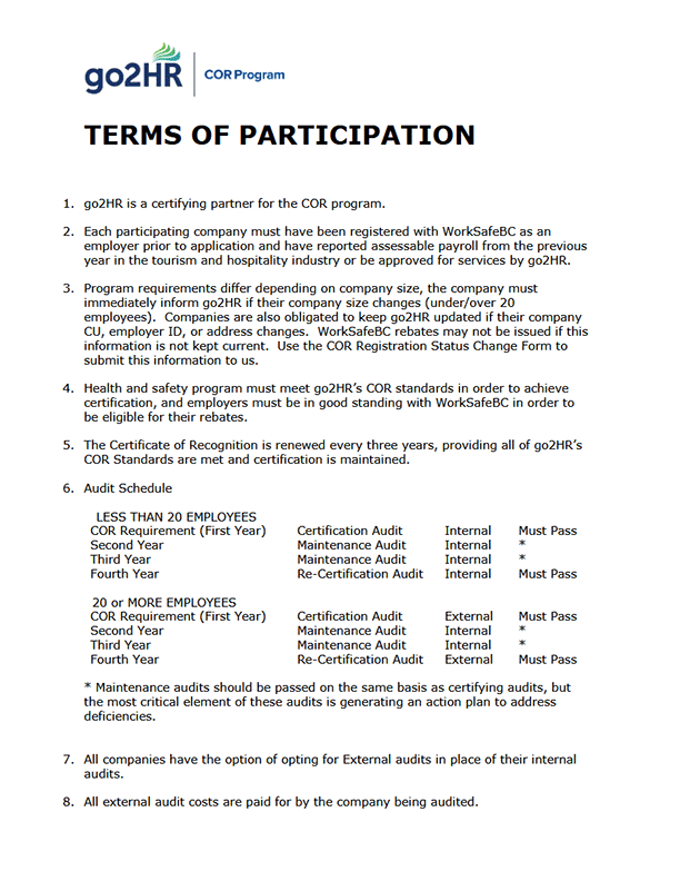 COR Terms of Participation