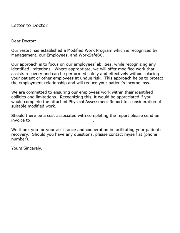 Form B1: Letter to Doctor