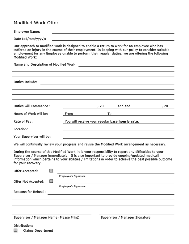 Form D: Modified Work Offer
