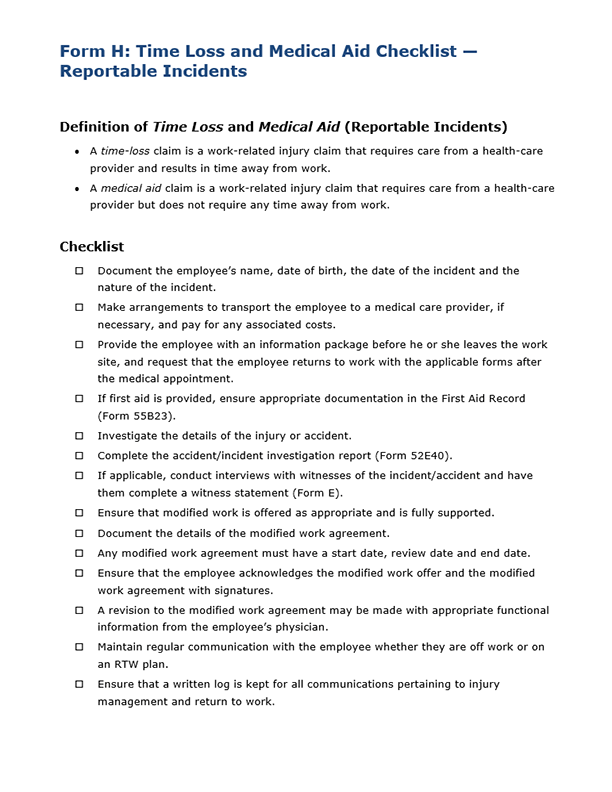Form H: Time Loss and Medical Aid Checklist – Reportable Incidents (Accommodation)