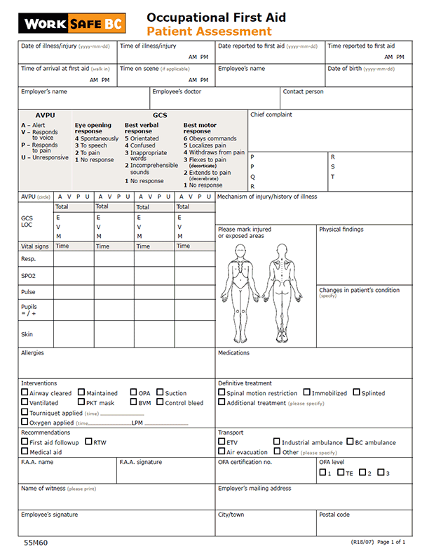 Form 55M60: Occupational First Aid Patient Assessment
