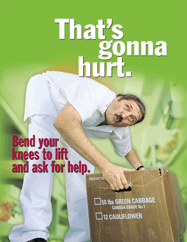 Kitchen Safety Poster: Bend Your knees to Lift and Ask for Help