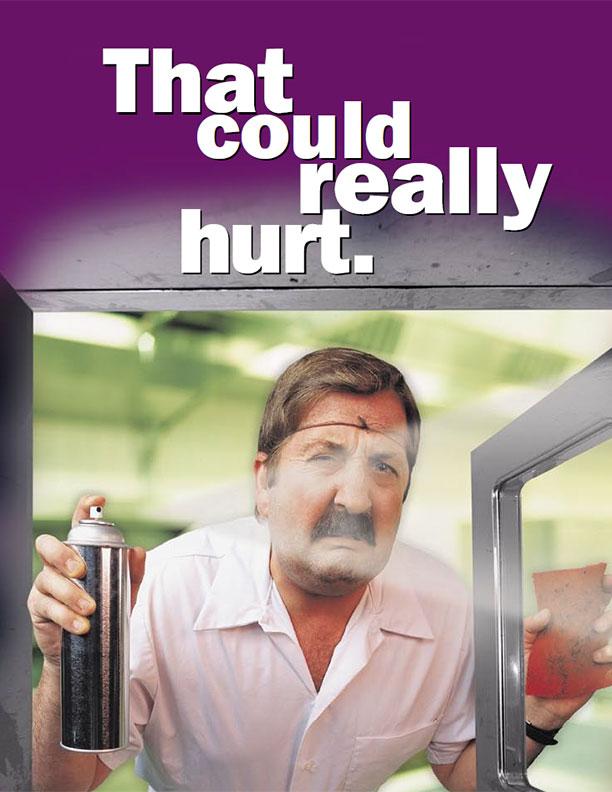 Kitchen Safety Poster: Cleaners can burn too. Read the label and know the dangers.