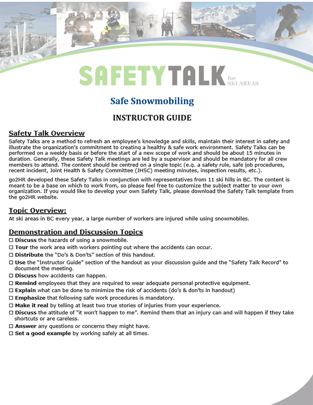 Safety Talk for Ski Areas: Safe Snowmobiling