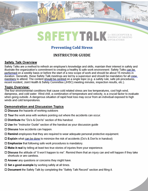 Safety Talk for Helicopter & Snowcat Skiing Operators: Preventing Cold Stress