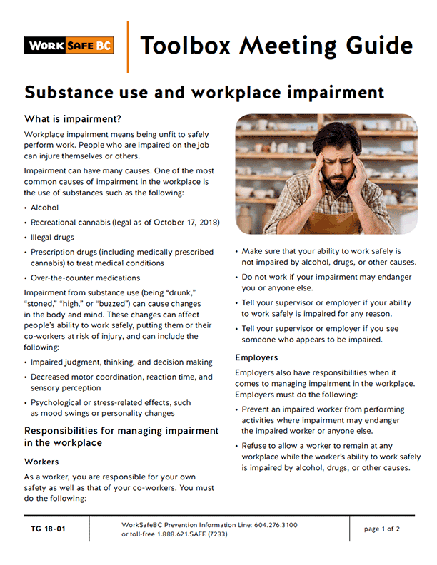 Substance Use and Workplace Impairment