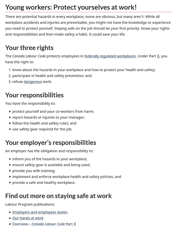 Young Workers – Protect Yourselves at Work