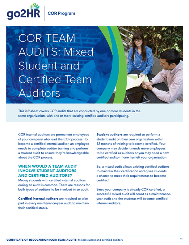 Mixed Student and Certified Team Auditors – Infosheet