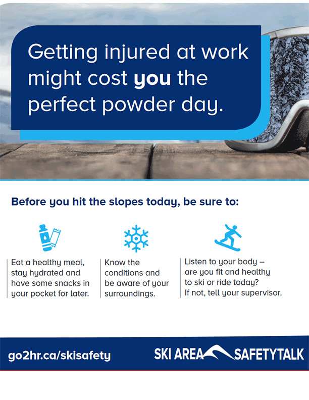 """Ski Area Poster: """"Before you hit the slopes"""" Snow Sports Injury Reduction"""