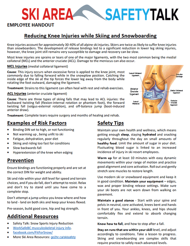 Ski Area Safety Talk: Reducing Knee Injuries While Skiing and Snowboarding