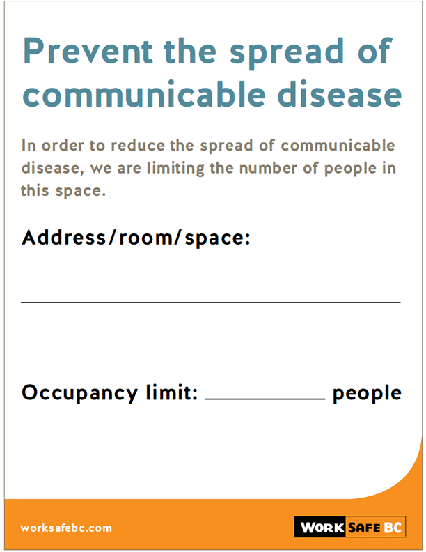 Prevent the Spread of Communicable Disease: Occupancy Limit