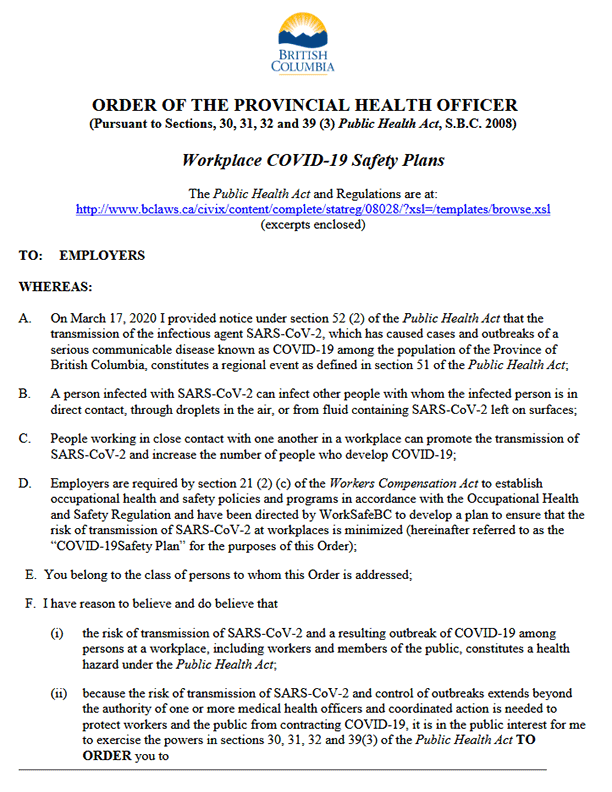 Provincial Health Officer's Order Regarding Workplace COVID-19 Safety Plans