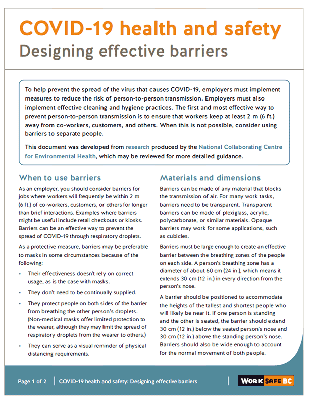 COVID-19 Health and Safety: Designing Effective Barriers