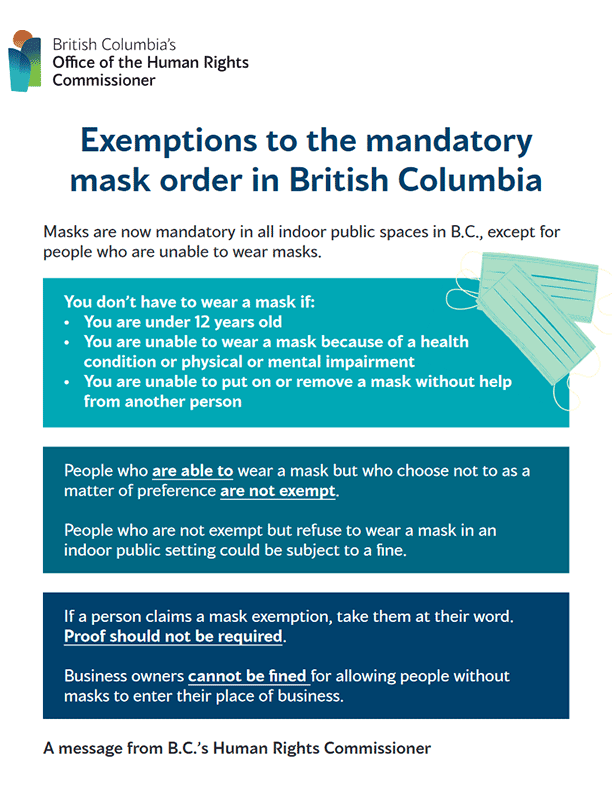 Poster: Exemptions to the Mandatory Mask Order in British Columbia