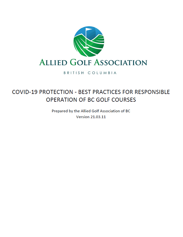 Allied Golf Association of BC – COVID-19 Protection – Best Practices for Responsible Operation of Golf Courses
