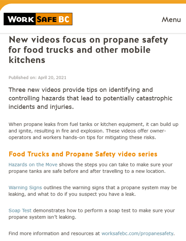 Food Trucks and Propane Safety Video Series